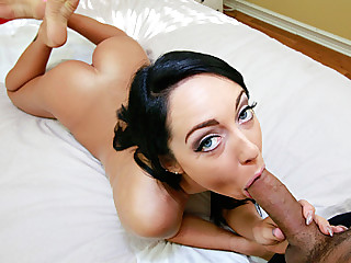 Young lovely girl Sabrina sucks and gets sprayed by sticky cum
