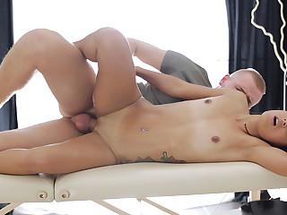 Tattooed coed massage and fuck